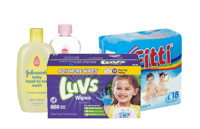 A display of baby products, including wipes, diapers, and johnson & johnson products