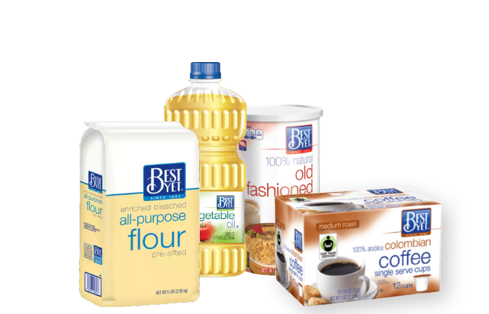 A display of Best Yet brand products, including canola oil, flour, coffee, and oatmeal