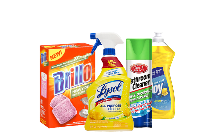 A display of cleaning supplies, including lysol, bathroom cleaner, joy dish detergent, and brillo pads