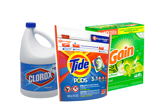 A display of laundry products, including tide pods, gain detergent, and chlorox